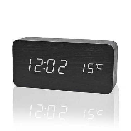 iitrust - Reloj Digital Despertador de Madera con Control de Sonido y LED Brillo de la