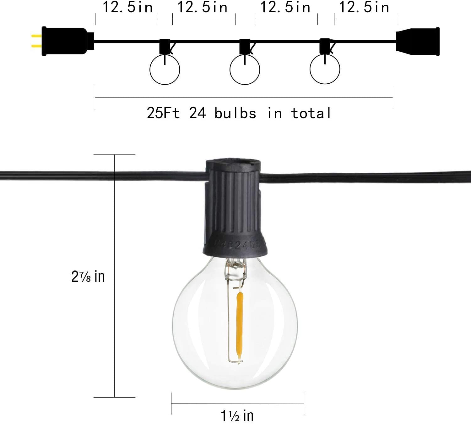 keymit G40 25Ft LED Dimmable Outdoor String Lights Edison Vintage Warm Glow 1W 2200K Globe Small Clear Glass 23Sockets Cafe Ambience Outside Hanging Lighting for Patio Bistro Garden Party