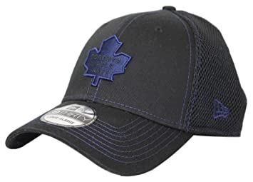 Toronto Maple Leafs NHL New Era 39THIRTY Black Team Neo Fitted Hat ... d72f18d669c