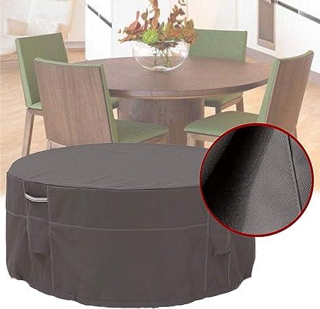 HHMH Funda para Muebles de Jardín, Funda Protectora para Mesa Exterior, Tela 600D Oxford Impermeable Anti-UV Patio Protectores, Redondo, Negro - (274 x 58 cm): Amazon.es: Hogar