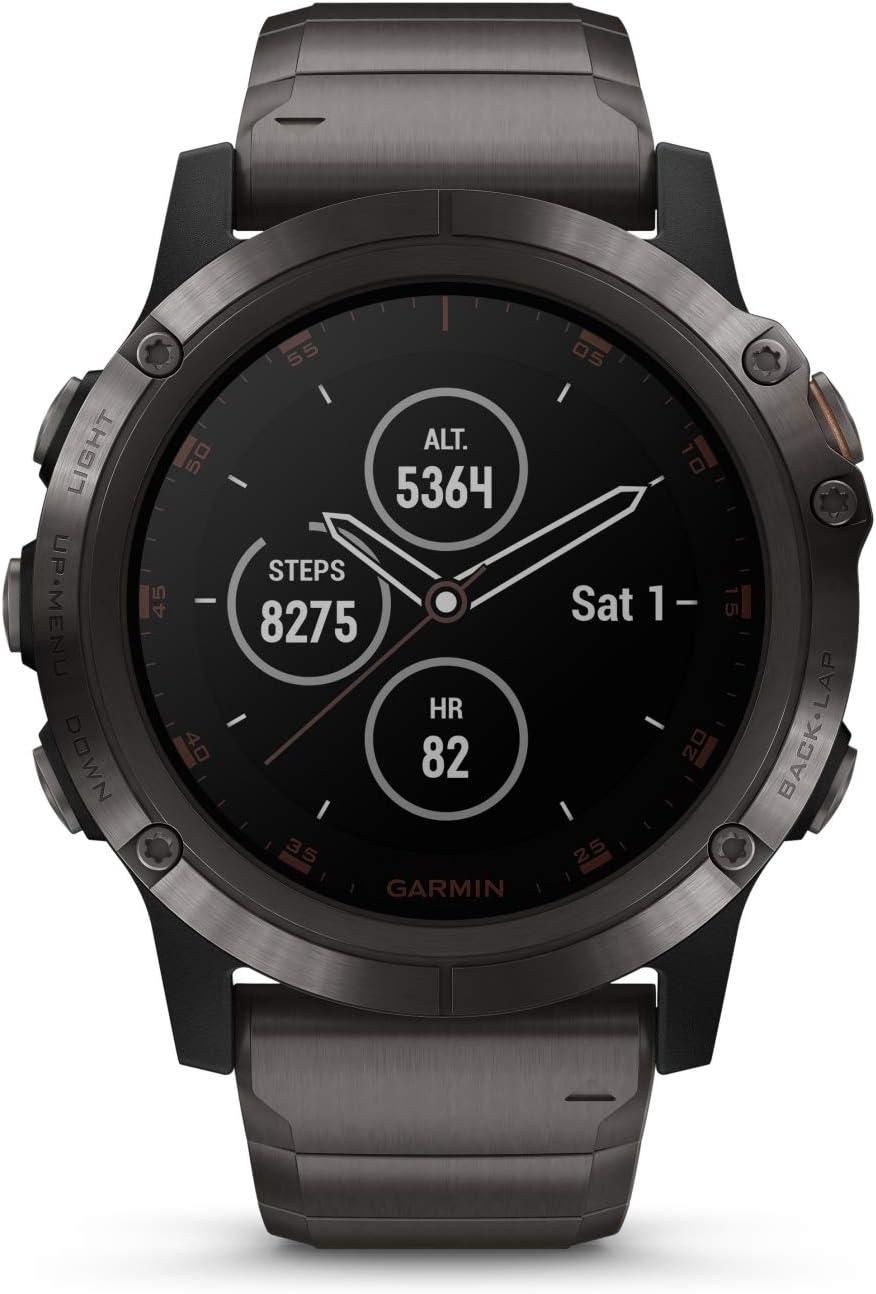 fēnix 5X Plus Zafiro, titanio con revestimiento de DLC gris carbón con correa de titanio con revestimiento de DLC