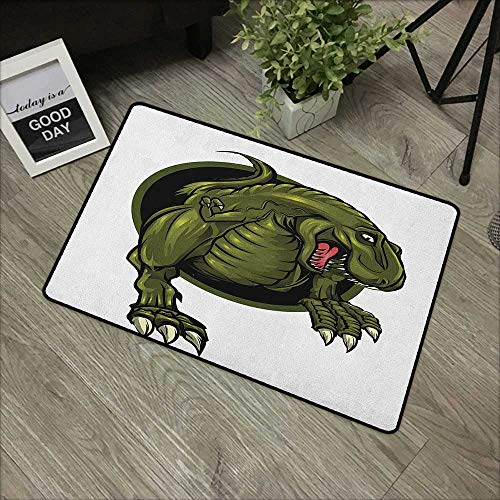 Clear Printed Pattern Door mat W19 x L31 INCH Jurassic,Roaring T-rex Mascot Ancient Animal Horror Wildlife Wilderness Extinct, Olive Green Brown with Non-Slip Backing Door Mat Carpet