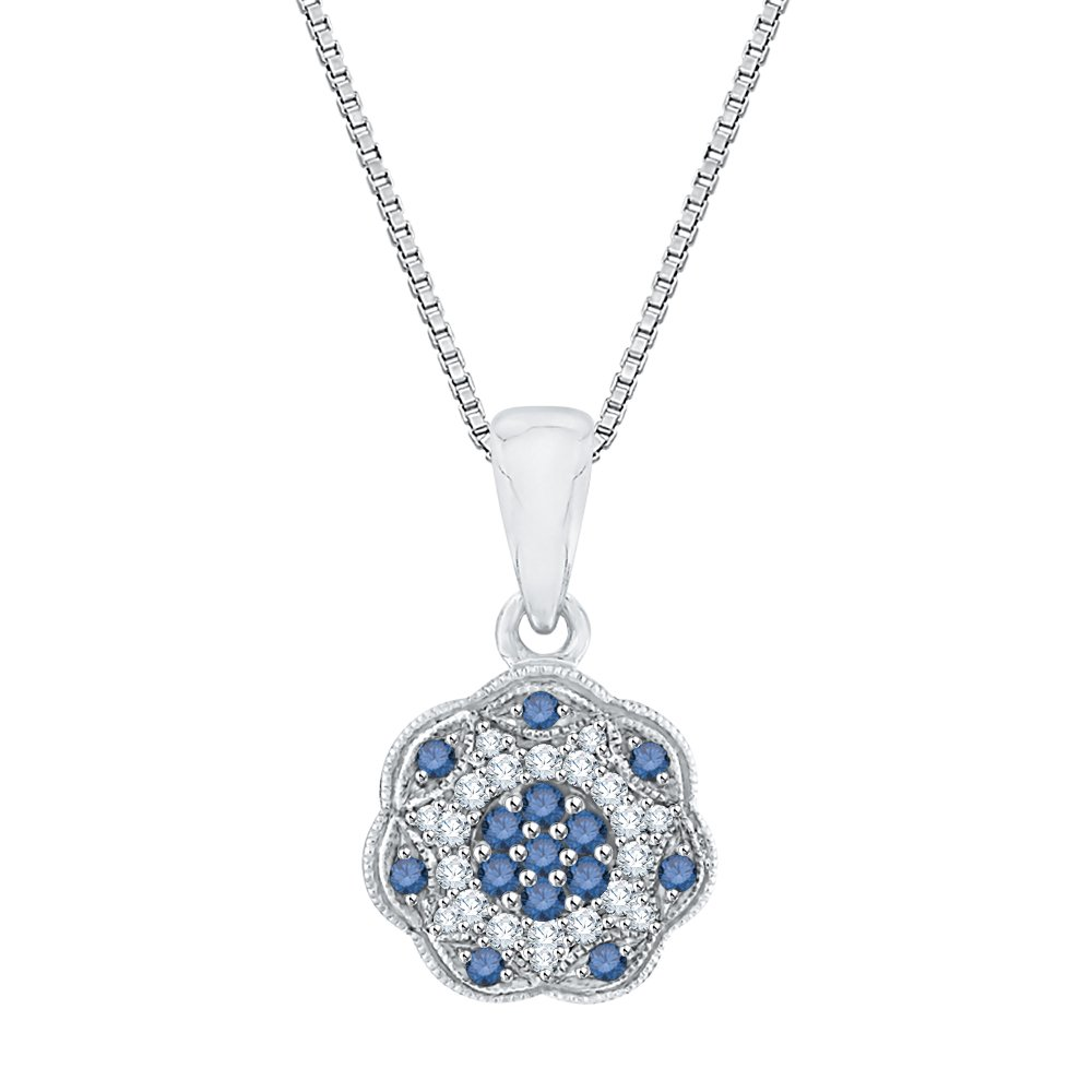 1//5 cttw, G-H, I3-I4 KATARINA Blue and Black Diamond Fashion Pendant Necklace in Sterling Silver