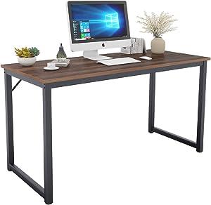 DlandHome 55 inches Large Black Computer Desk, Composite Wood Board, Modern Home Office Desk/Workstation/Table, GCP2JJ-140BW