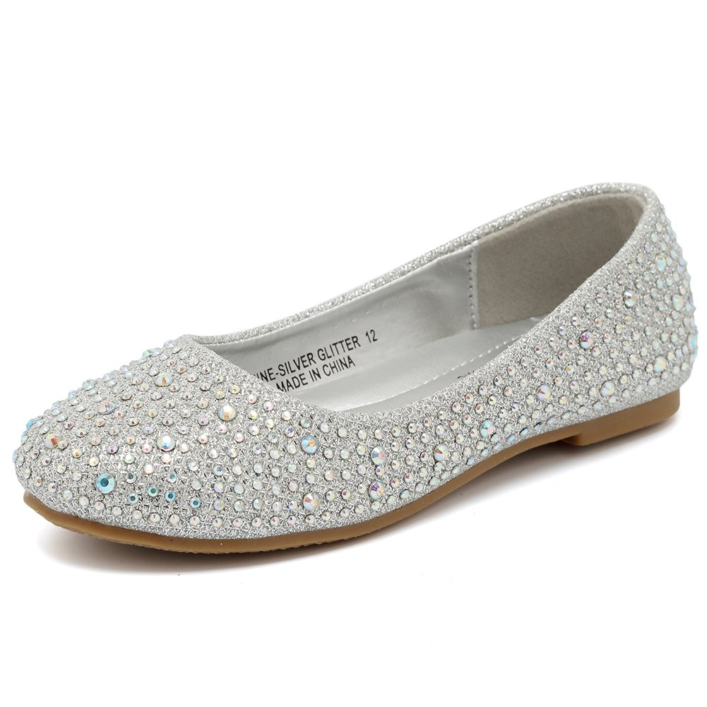 CIOR Girls Ballet Flats Shoes Slip On Ballerina Bowknot Jane Mary Wedding for Party Princess Dress from Merence(Toddler/Little Kids/Big Kids),VGZA1,Shine-Silver Glitter,31