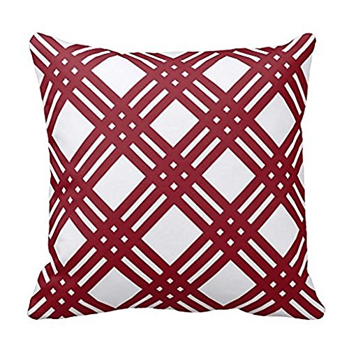 WENSING Maroon And White Gingham Throw Pillow Case 18x18Inch