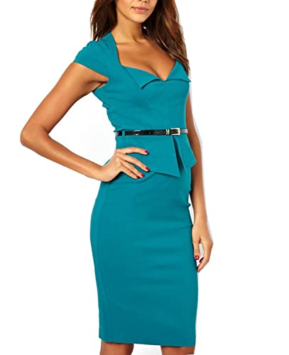 WIIPU Women grey Rockabilly Bodycon Business knee-length Pencil Dress(J416)