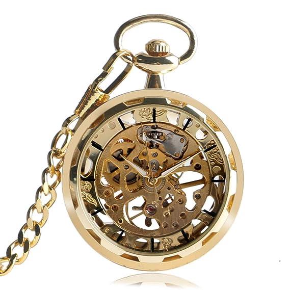 Skeleton Reloj de Bolsillo, Retro Steampunk Relojes de Bolsillo para Hombre, Cadena de Moda, Reloj de Bolsillo mecánico de Cuerda de Mano Regalo: Amazon.es: ...