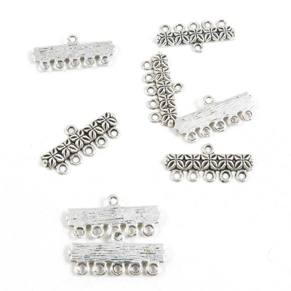 1140 Pieces Antique Silver Tone Jewelry Making Charms Crafting Beading Craft 86587 5 Strand Connector Separator End Bars