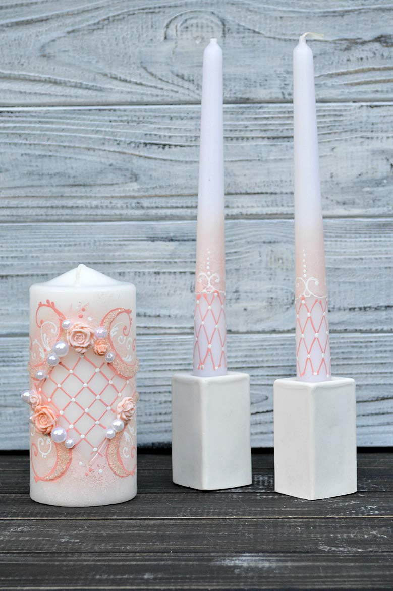 Magik Life Unity Candle Set for Wedding - Wedding décor & Wedding Accessories - Candle Sets - 6 Inch Pillar and 2 10 Inch Tapers - Best Unity Candle- Pink by Magik Life