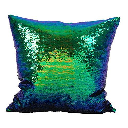 (SARO LIFESTYLE Reversible Sequin Mermaid Down Filled Throw Pillow 18