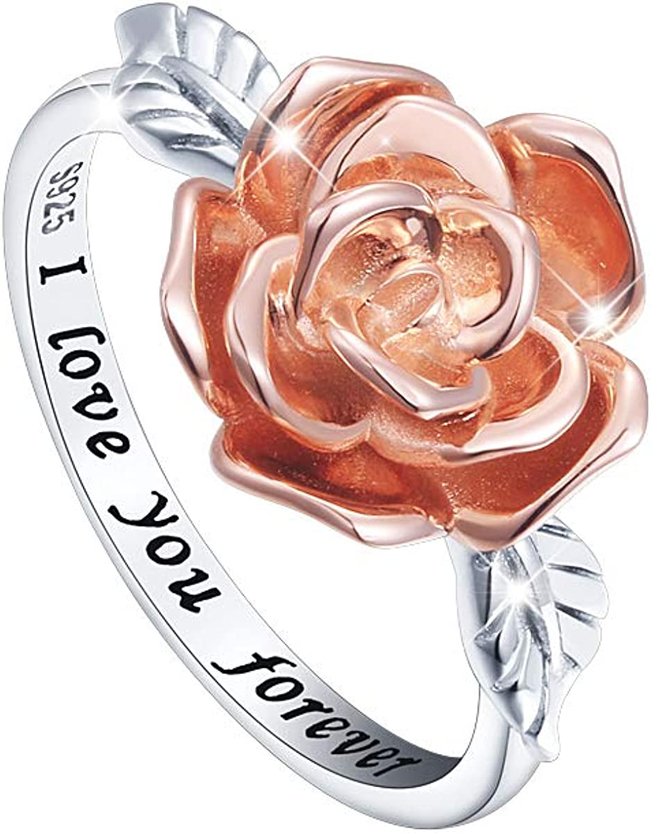 DAOCHONG S925 Sterling Silver Rose Flower Love Jewelry Bands Promise Ring for Women Teen Girl