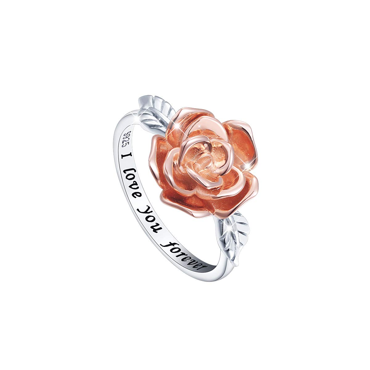 DAOCHONG S925 Sterling Silver Rose Flower Love Jewelry Bands Ring for Women Size 7