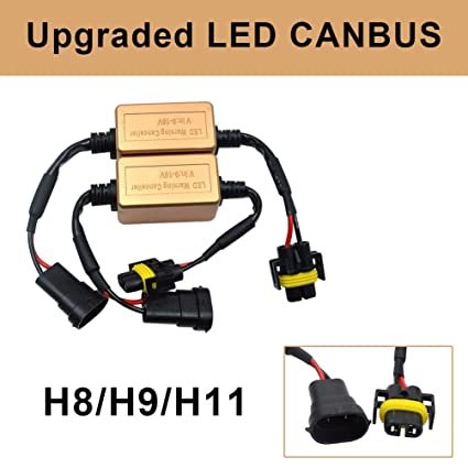 amazon com: h8 h9 h11 led headlight canbus wiring kit error free canbus  adapters computer warning canceller and fix anti-flicker: automotive