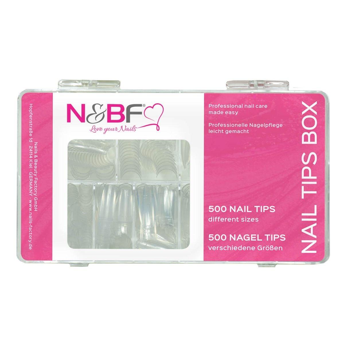 N&BF Classic Nagel Tips Clear Sortierbox 500 Stück für Gelnägel ...
