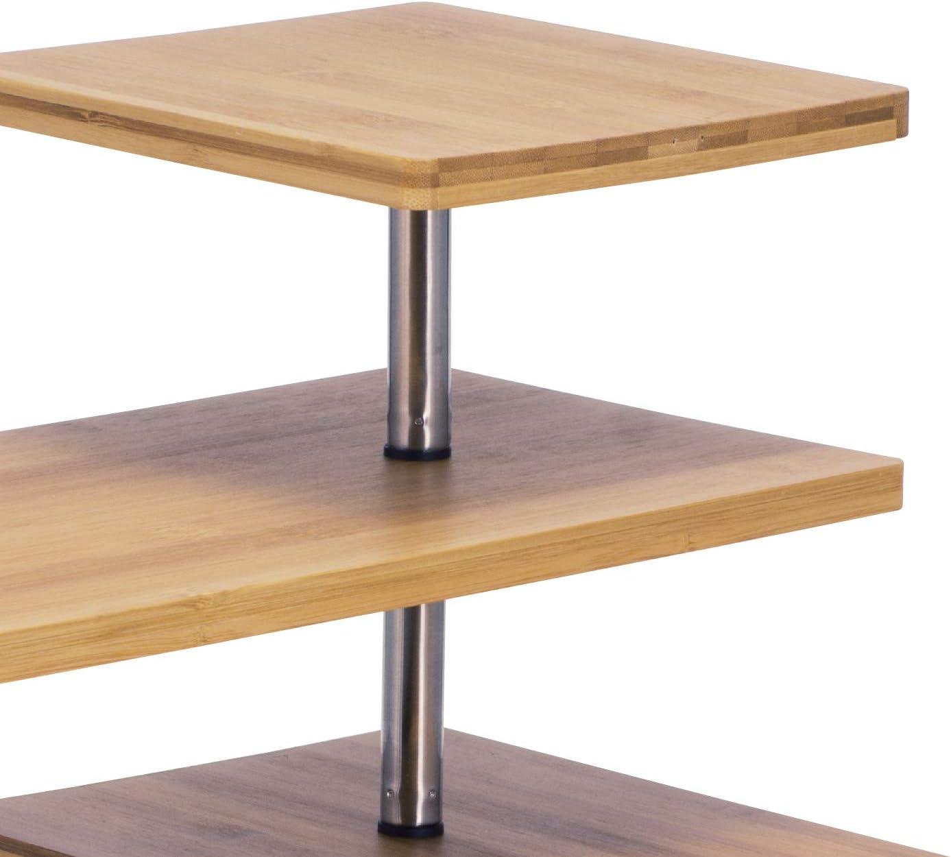 bremermann/® estanter/ía en Esquina de bamb/ú y Acero Inoxidable con Ganchos