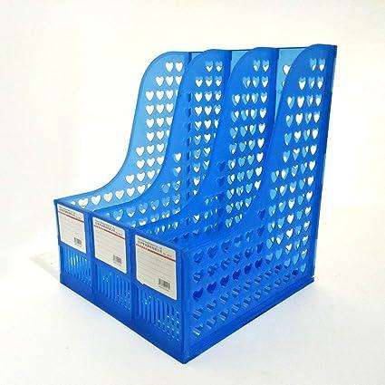 DivineXt 3 Division File/Magazine/Book Rack - Multifunction Plastic Storage Hanger 4 Section Divider File Paper Magazine Rack Holder Office Home Desktop Book Box Bookshelf, 25 * 24 * 30 cm , Plastic, Set Of 1