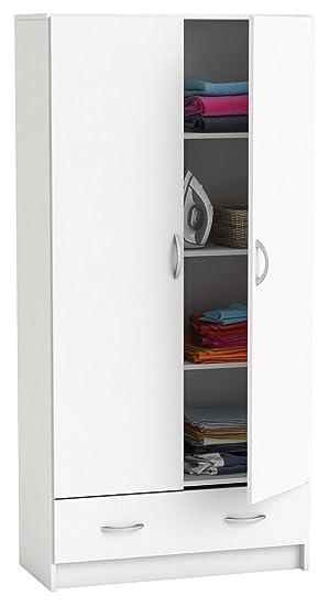 Wäscheschrank weiß 2 Türen B 82cm Schrank Drehtürenschrank ...