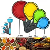 8 Piece Collapsible Measuring Cups and Measuring Spoons Set in Silicone, Perfect for Baking, Cooking, Outdoor Picnic or Camping