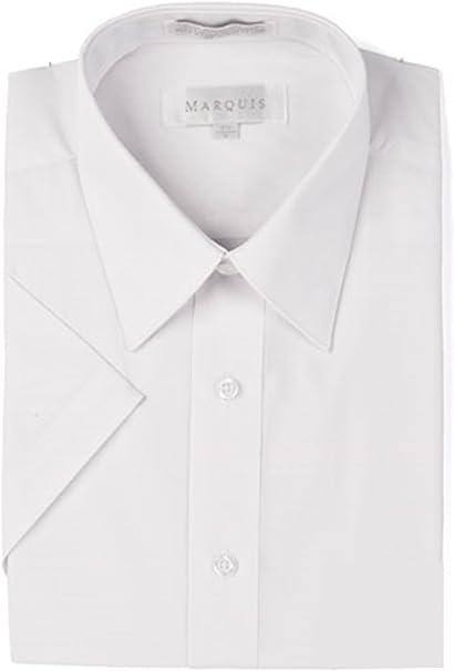 Marquis Mens Slim Fit Solid White Cotton Blend Dress Shirt