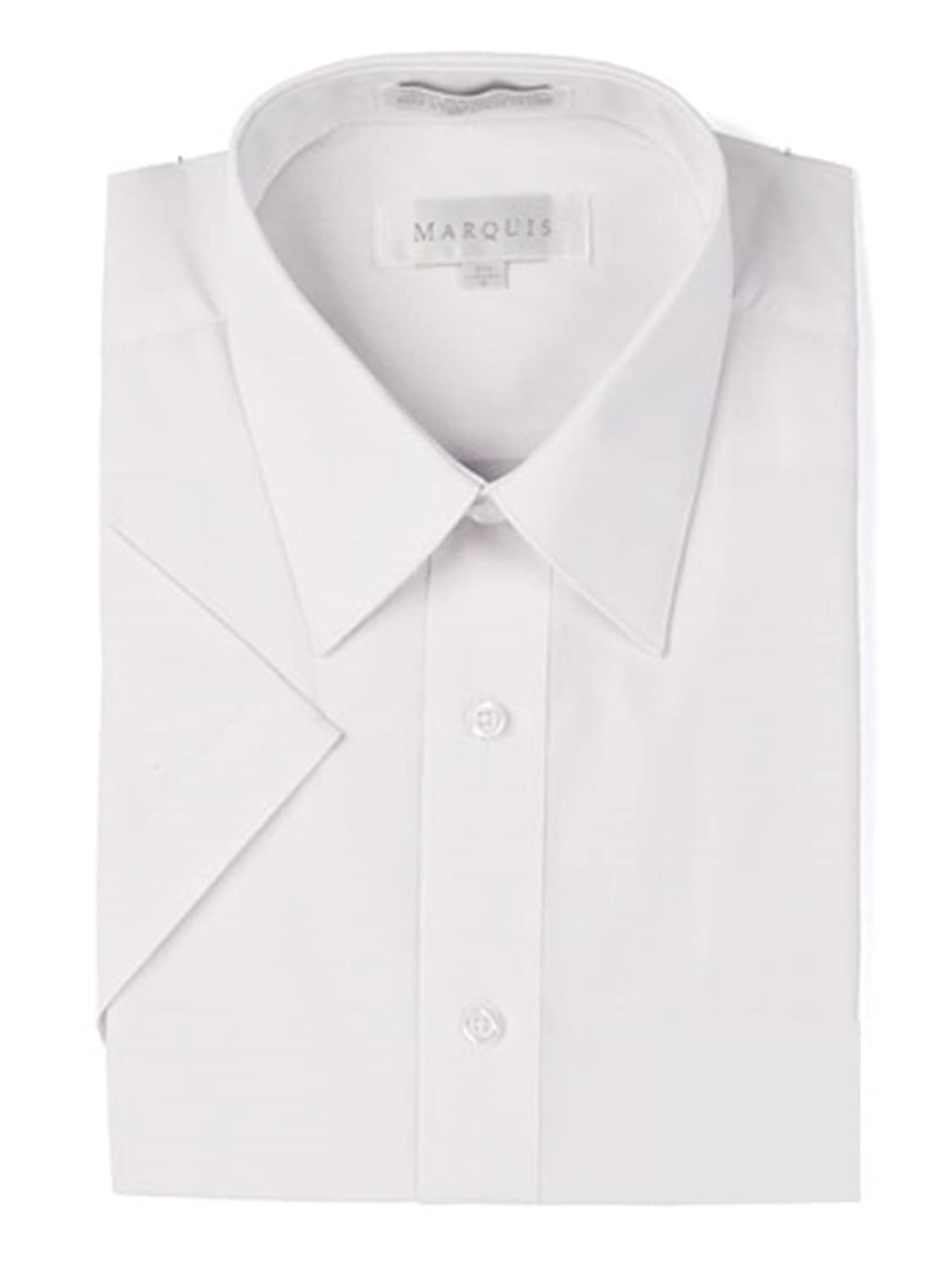 Marquis Mens Short Sleeve Slim Fit Solid Dress Shirt White At