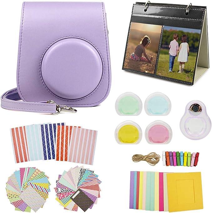 MUZIRI KINOKOO Mini 11 Accesorios Pack para Fujifilm Instax Mini 11 Funda Protectora con 8 Accesorios útiles para la cámara, Lente de Filtro de 4 Colores y Lente de Selfie, Color Morado: Amazon.es: Electrónica