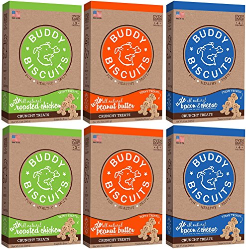Cloud Star Buddy Biscuits Crunchy Itty Bitty Oven Biscuits Dog Treats Variety 6 Pack - 2 Bacon Cheese & Apple - 2 Peanut Butter - 2 Chicken & Carrots - 8 oz Each