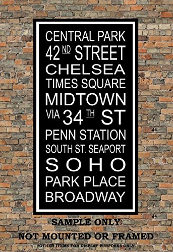 New York City Subway Sign Print - Central Park, Broadway, Penn Station, Midtown, Soho, Times Square - Multiple - Soho Broadway In