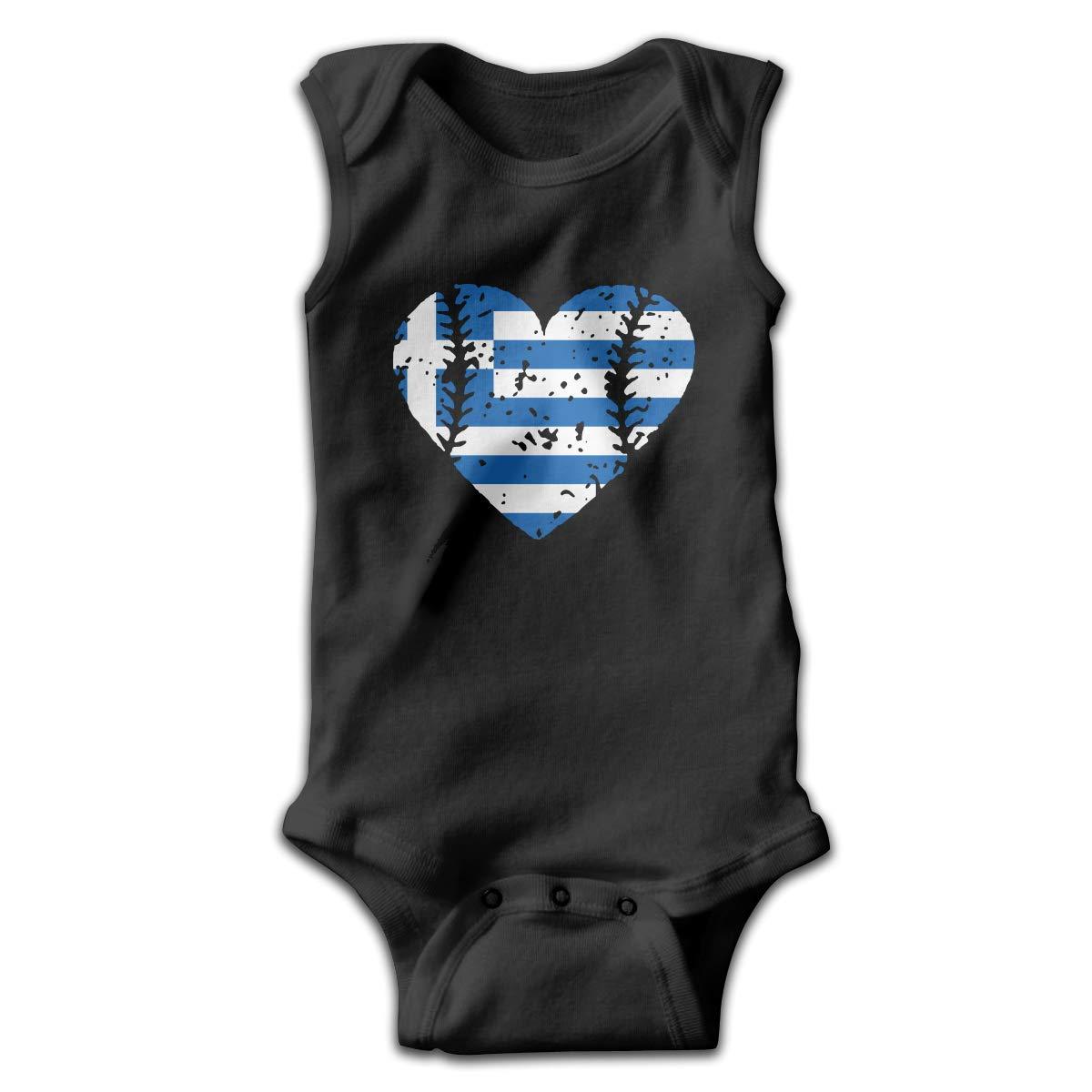 MMSSsJQ6 Baseball Heart Greece Greek Flag Baby Boys Girls Infant Creeper Sleeveless Romper Jumpsuit Rompers