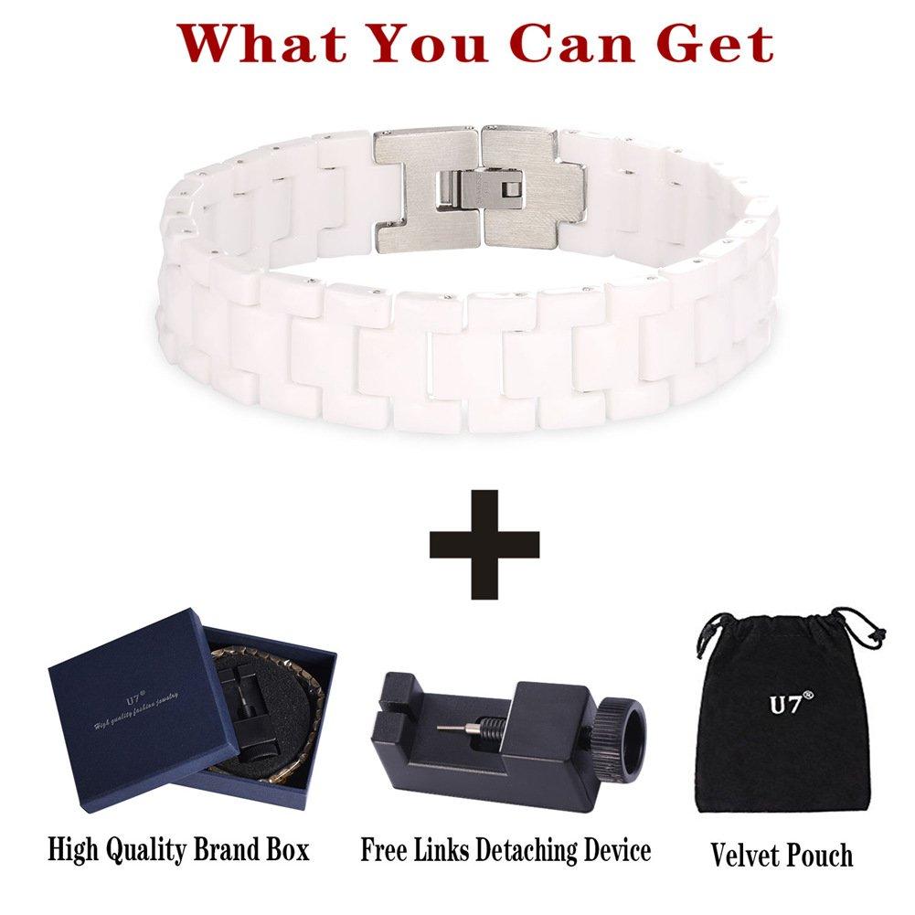 U7 22CM Long Bracelets with Free Link Removal Tool Unisex Style 15MM Wide Ceramic Link Wrist Chain Bracelet U7 Jewelry U7 H2632-85