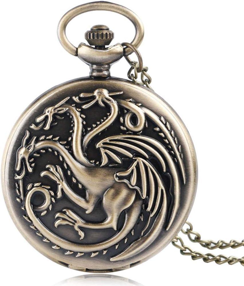 HEMFV Reloj de Bolsillo con Cadena - Juego de Tronos Estuche con Respaldo Liso Bronce Caja Vintage Reloj de Bolsillo de Cuarzo (Color : Brass): Amazon.es: Hogar