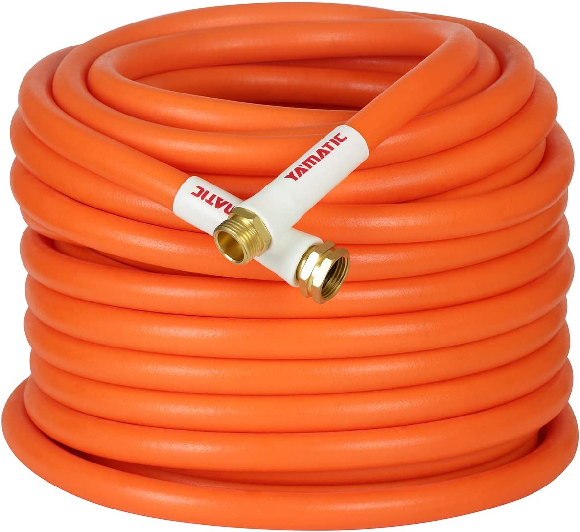 YAMATIC Kink Free Garden Hose 5/8 in. x 100 ft All-Weather Flexibility Water Hose Hybrid, Light Weight, Enhanced Brass Connectors