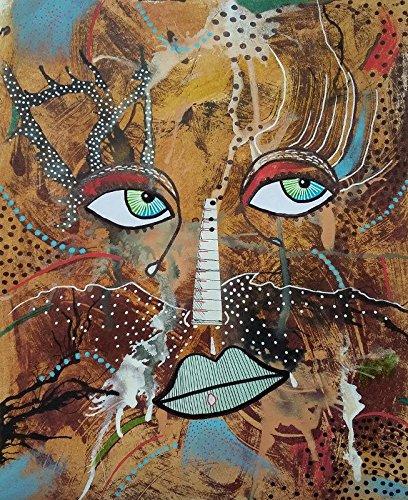 Amazon.com: Original Contemporary Wall Art Portrait Painting Surreal ...