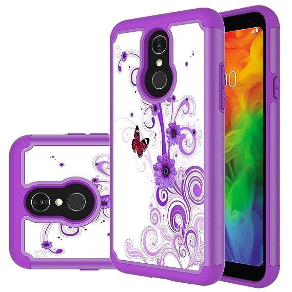 watch 8ac63 8c140 LG Q7 Case, LG Q7 Plus Case, MAIKEZI Hybrid Dual Layer TPU Plastic Armor  Defender Phone Case Cover for LG Q7+/LG Q7 Alpha/Q7α (Armor Purple Flower)