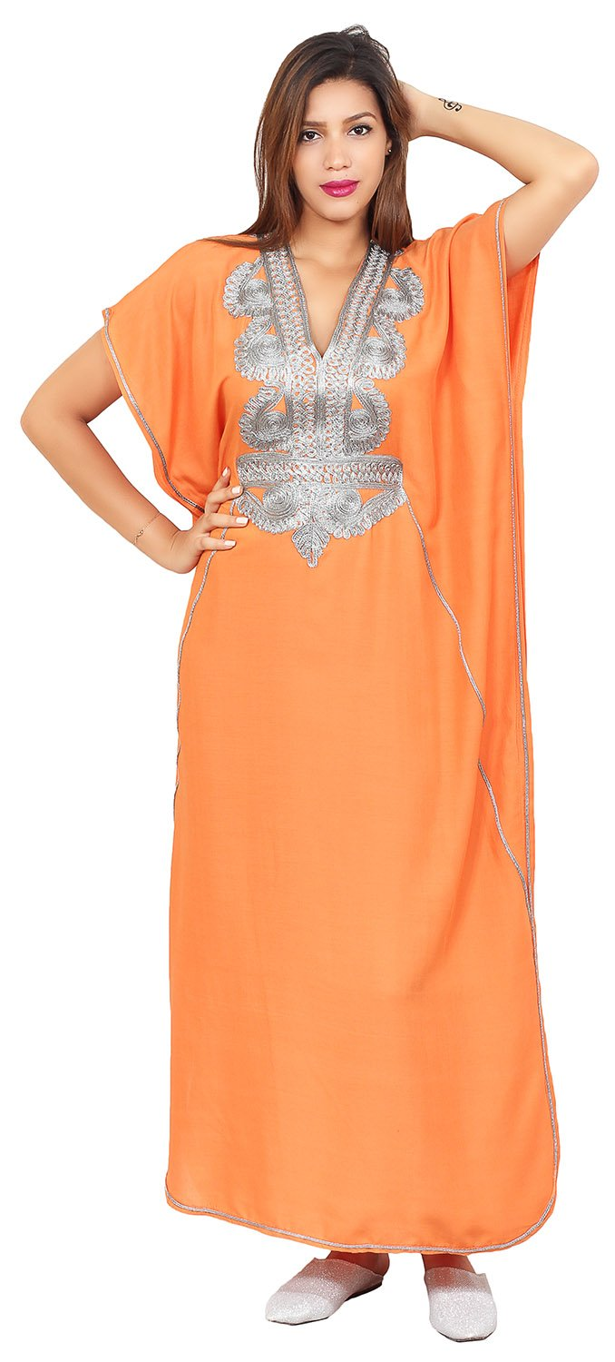 Moroccan Caftans Handmade Cotton Silver Hand Embroidery Breathable Soft Orange