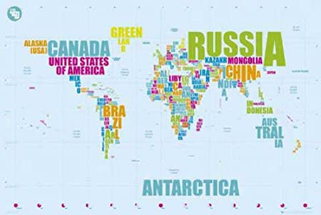 Poster Map World Map in Words with Accessory Item 2 bars clear