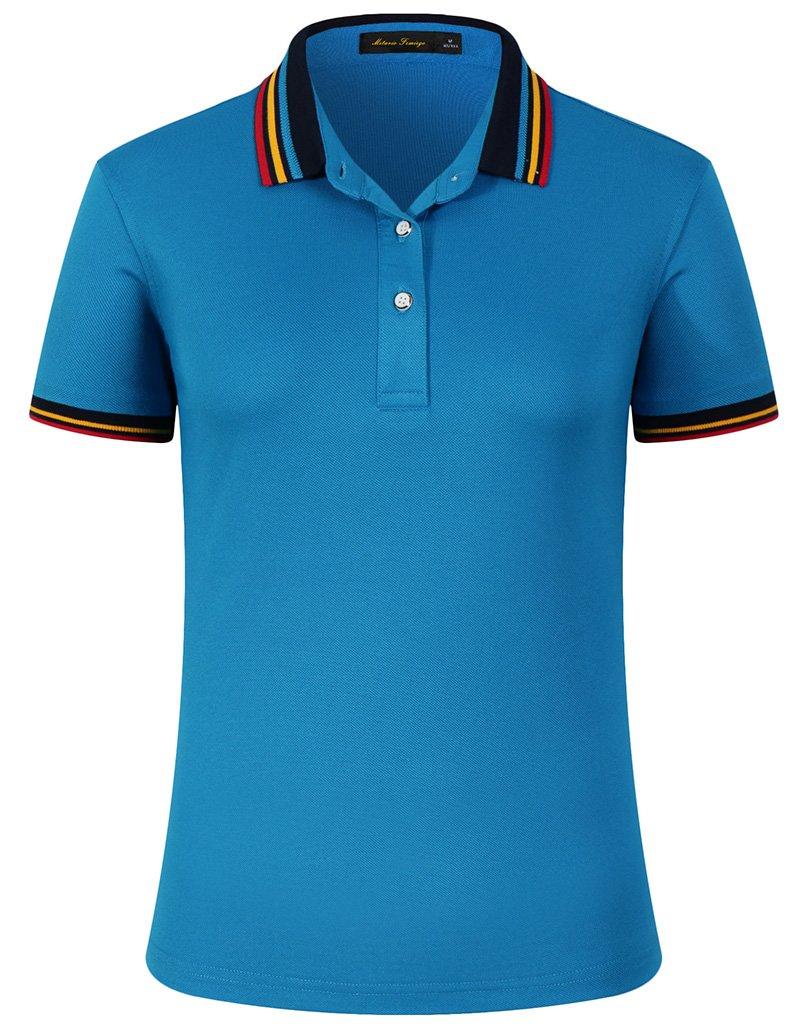 Women Classic Rainbow Stripe Collar Slim Fit Short Golf Polo Shirt Blue XL by Mitario Femiego