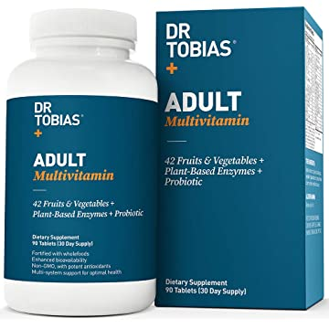 Dr. Tobias Adult Multivitamin - Vitality - Enhanced Bioavailability - With Whole Food & Herbal Ingredients