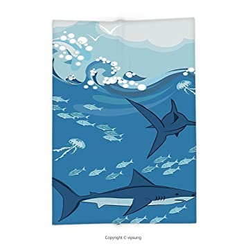 Custom Imprimé Couvre-lit couverture avec Mer animaux Décor Sharks ...
