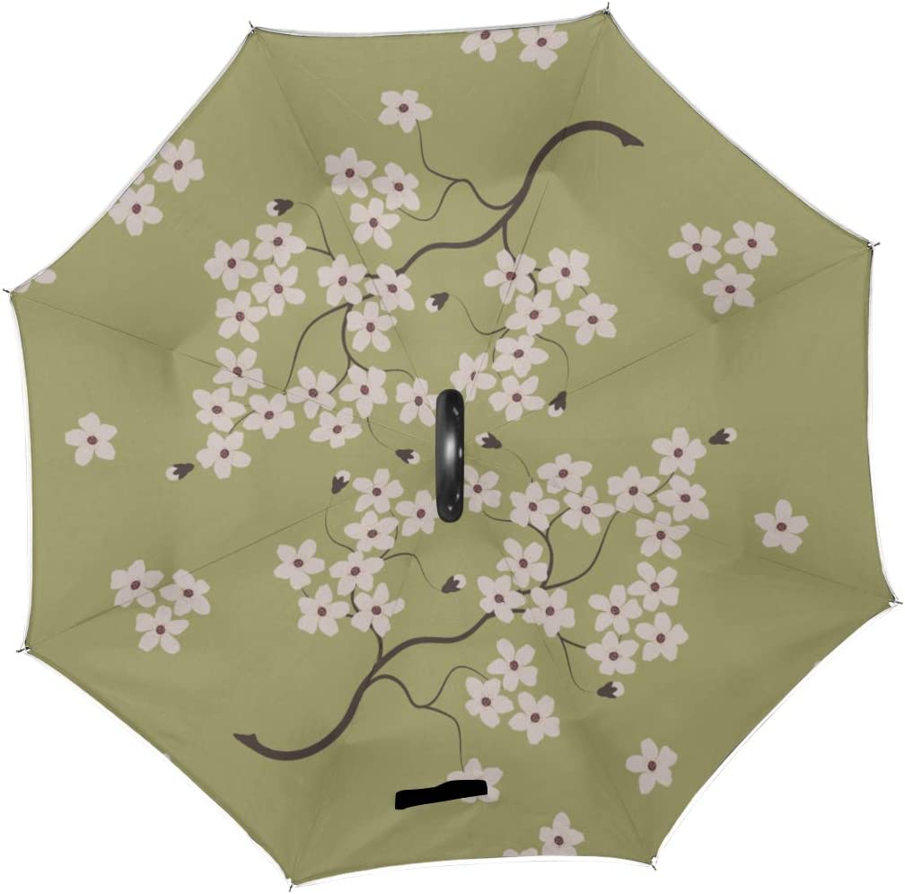 Double Layer Inverted Inverted Umbrella Is Light And Sturdy Sakura Branch Blooming On Green Reverse Umbrella And Windproof Umbrella Edge Night Reflec