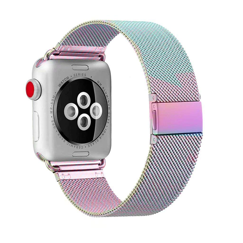ADWLOF Compatible for Apple Watch Band 38mm 40mm,Stainless Steel Mesh Sport Wristband Loop with Strong Magnetic Closure Strap for iWatch Series 1,2,3,4,Colorful by ADWLOF