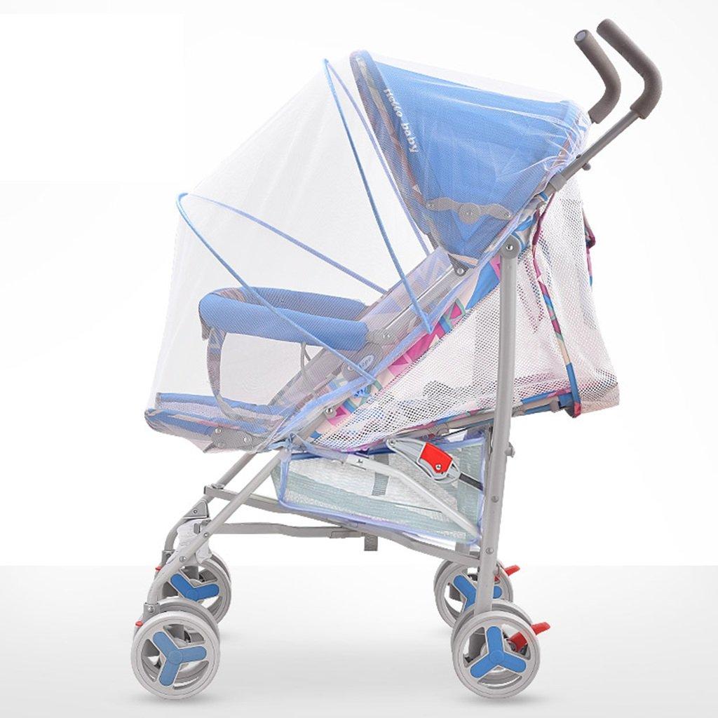 HAIZHEN マウンテンバイク ベビーカート5点シートベルト軽量Foldableは、子供のトロリーを座って/嘘つくことができますフルネットワーク換気調節可能な日除け蚊帳とショッピングバスケットカーボンスチールフレームEVAフォームショックアブソーバーホイールベビーキャリッジ38 * 61 * 102cm 新生児 B07DLCKW4VBlue-2