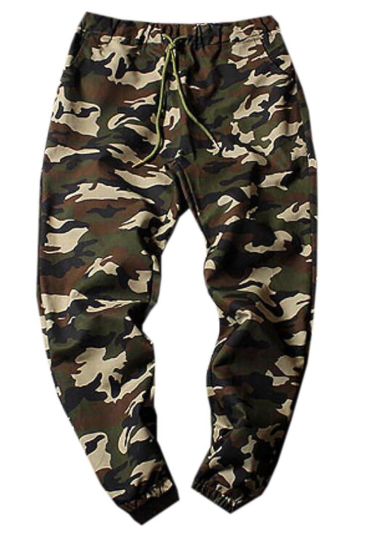 UUYUK-Men Camouflage Fashion Drawstring Sweatpants Harem Trousers