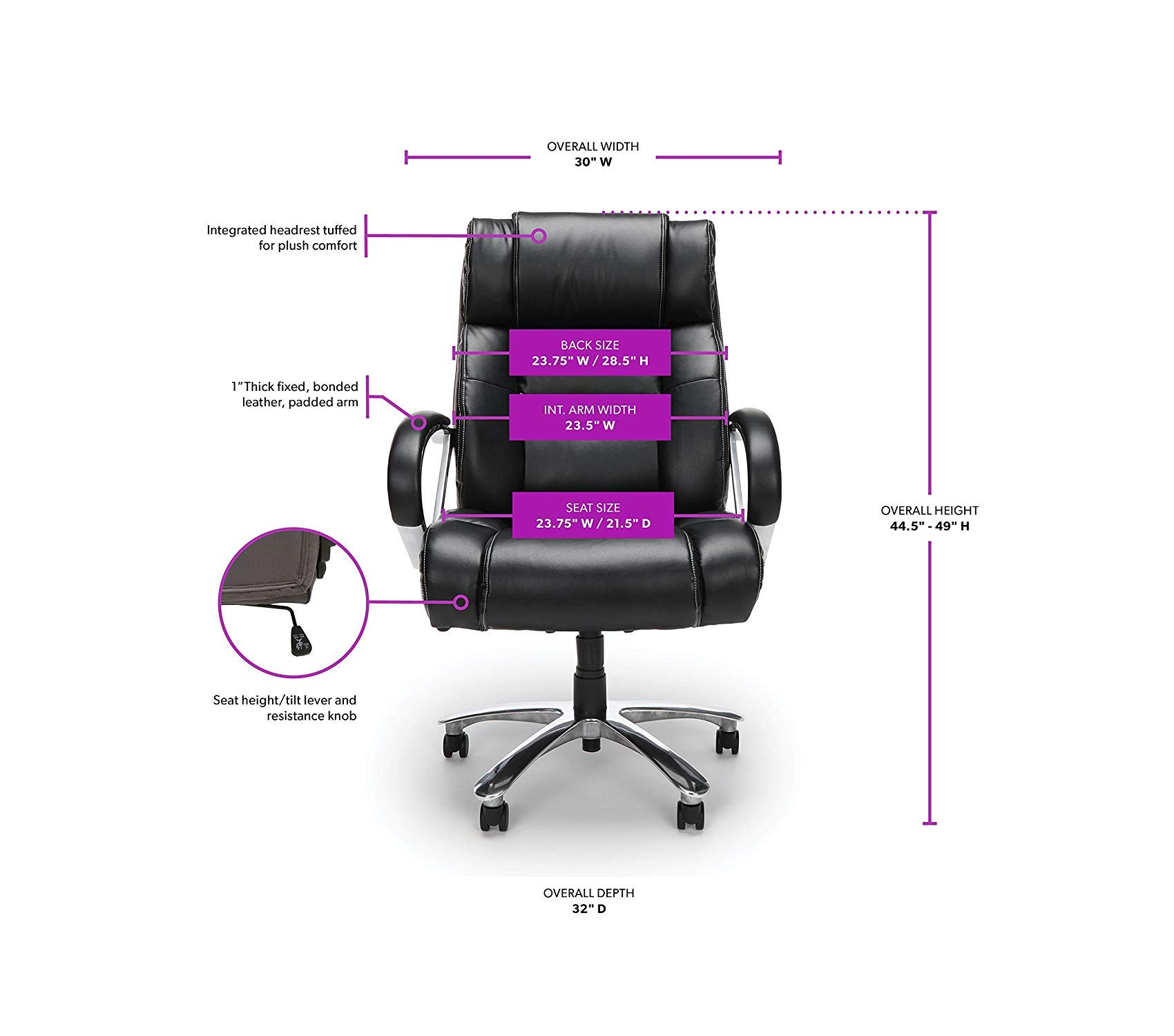 Оfm Avenger Series Big and Tall Leather Executive Chair - Black Computer Chair with Arms, Black/Chrome by Оfm (Image #6)