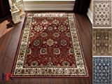 Handcraft Rugs Antique Look Persian Tabriz Oriental Floral Design Contemporary Area Rug. Red Rust/Sage Green and Multi. 8 ft. by 10 ft.