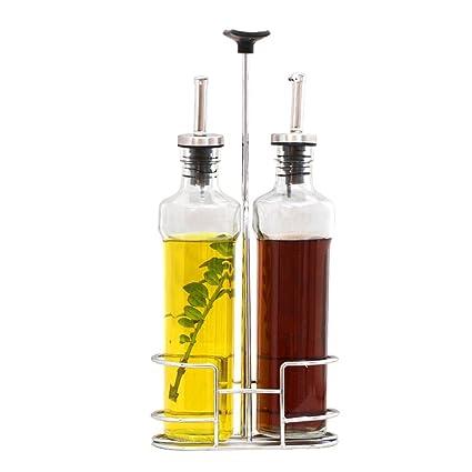 MOMO Olla de Aceite Estilo Europeo Conjunto de Botellas de Vidrio sin Plomo de Salsa de