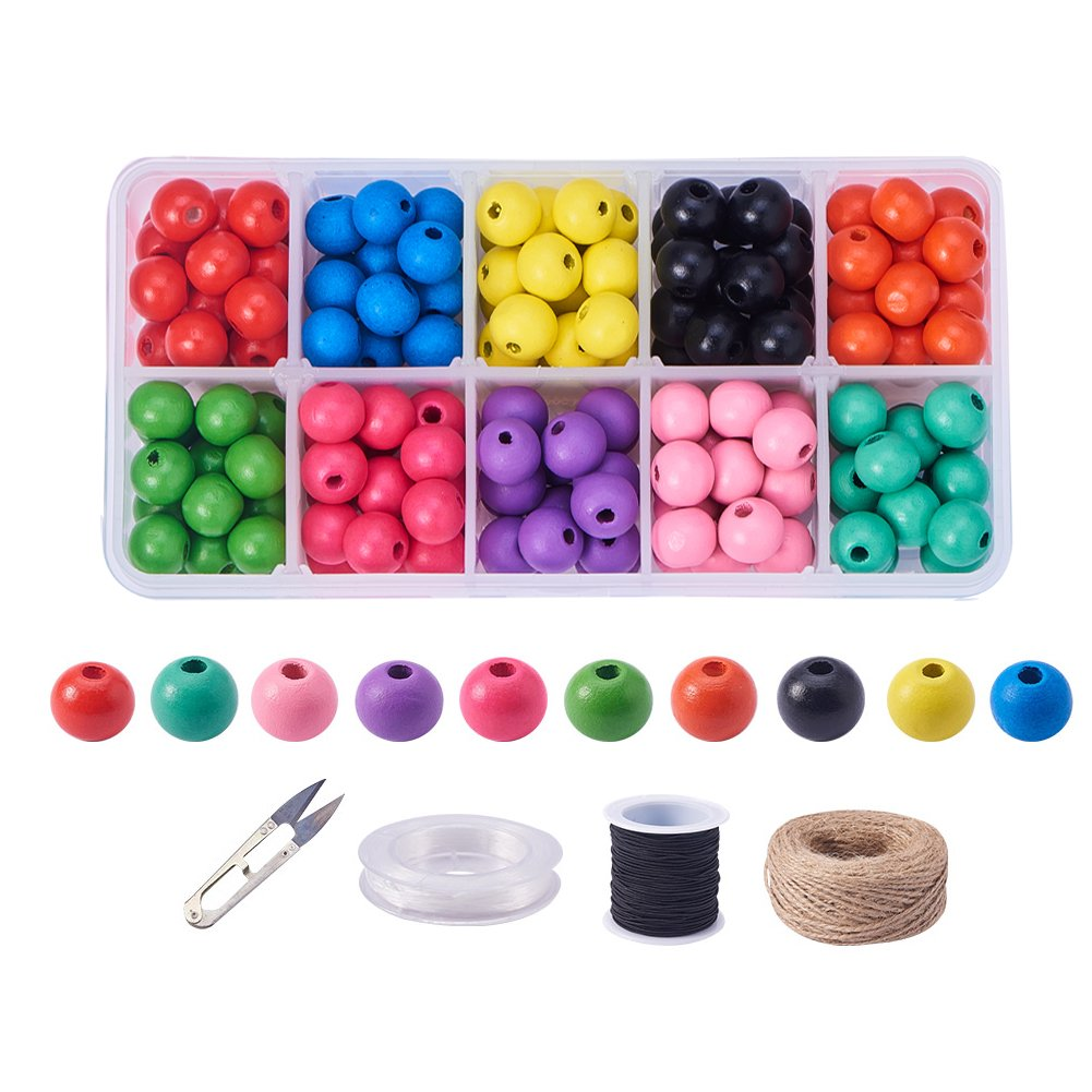 PandaHall Elite About 200 Pcs Wood Beads Wooden Loose Spacer Beads 4 Styles for Jewelry Making DIY Handmade Craft PH PandaHall