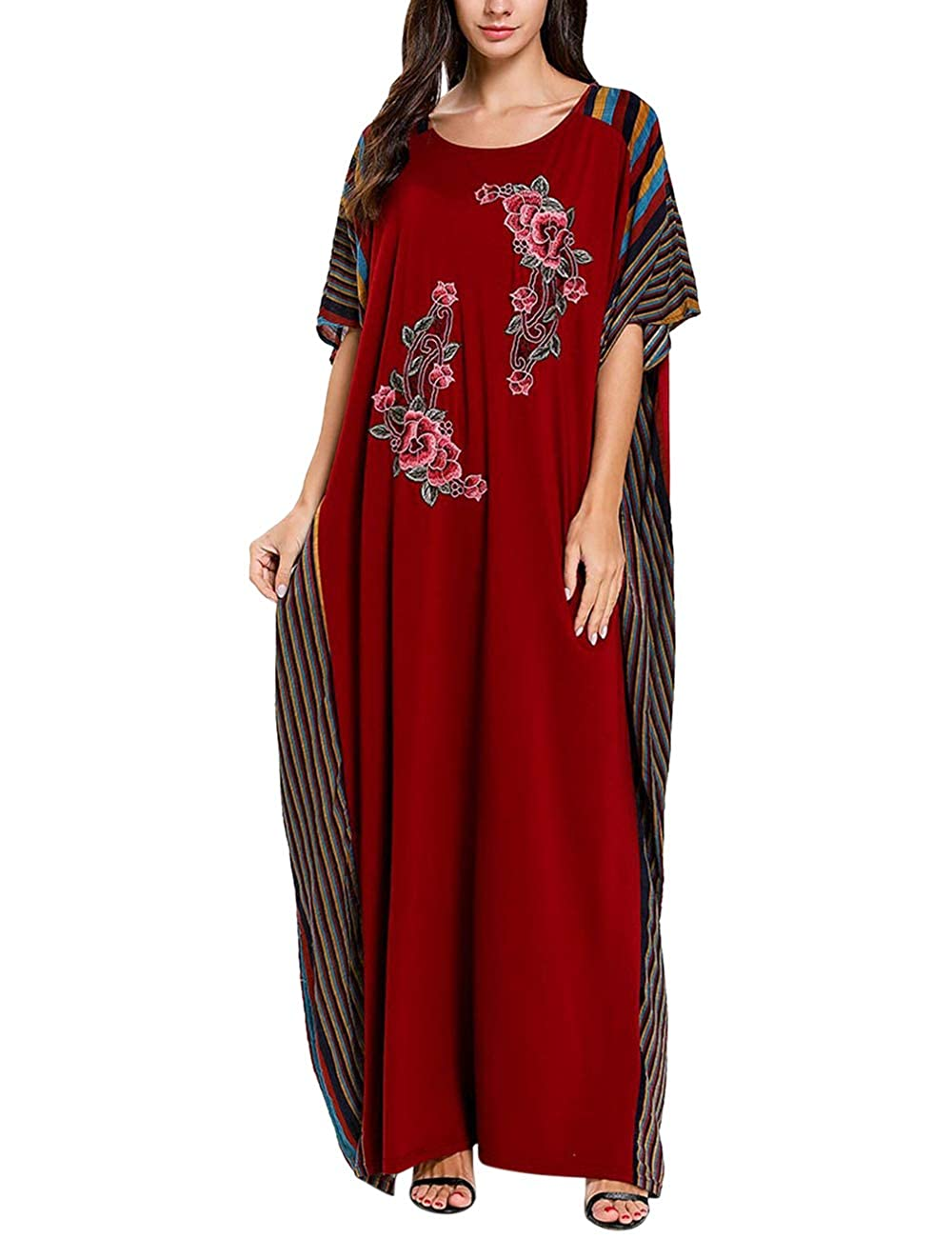 Zhhlinyuan Kaftans Embroidery Caftan Dress Plus Size Ladies Long Dress Cover Up Red