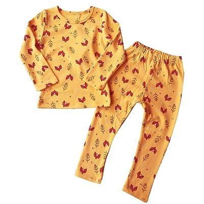 Baby Girl Sleepwear 100% Organic Cotton 2 Pcs Long Sleeve Unisex Infant Toddler Pajama Sets
