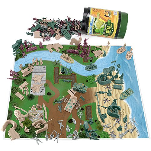 Toy Soldiers (Tiny Troopers Big Battle Drum Playset | Comes With Over 260 Pieces Including Two Armies of Soldiers, Tanks, Jets, Walls, Helicopters, Provisions, Playmat, and More | Deluxe Plastic Toy Army Set)
